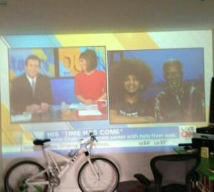 Projecting the CNN interview on a wall.  (Photo courtesy Dylan Chambers)