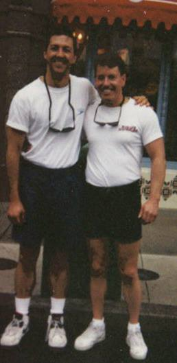 """Earl Harris (left) and James Cantrell, in their """"younger days.""""  (Photo courtesy Earl Harris)"""